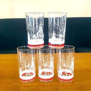 1950's Juice glasses Dutch theme 5 ct